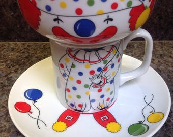 Vintage Child's Plate Bowl Cup Set Clown Circus Made In Japan