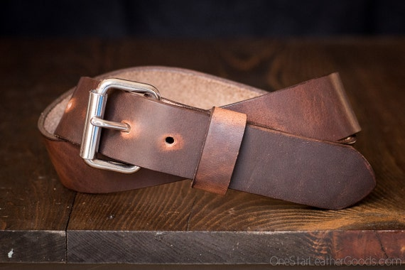 "Custom sized belt, 1.25"" width, Horween Dublin leather, heel bar buckle - brown nut"