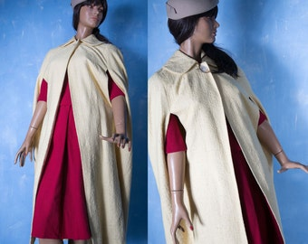 Vintage 1950's   pale yellow cape coat/ peter Pan collar  dress  fashion new look coat/S/M