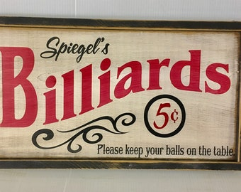 Personalized Billiards Sign Game Room Sign