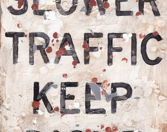 Slower Traffic Keep Right Transportation Racing Wall Art Print or Canvas -Aaron Christensen for racing fans, man caves, kids and teen decor