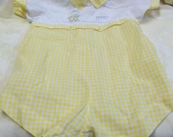 Vintage Yellow White Gingham Bubble,Piggy Going To Market, S