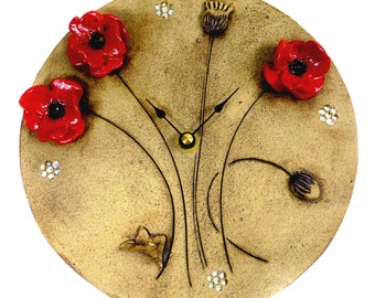 Red Poppy Clock with Forget Me Nots by Maggie Betley - Zoo Ceramics - Slab Built + Hand Carved British Design