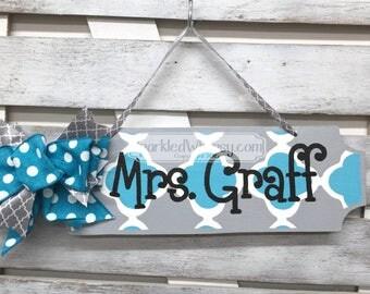 Teacher Gift: Personalized Teacher Name Sign, Classroom Decoration, Teacher Gift, End of Year Gift, Cube Decor, Office Decor Ocean Blue/Grey