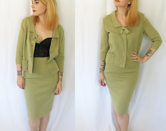 Vintage 1960s Pastel Green I Magnin Stretch Knit Skirt Sweater Suit Set Cardigan Mid Century- Jackie O- Small