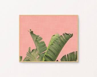 PRINTABLE Summer Tropical Art - Botanical Art - Horizontal - Peach and Green - Dorm Room Decor - Gallery Wall - Housewarming gift - SKU:2664