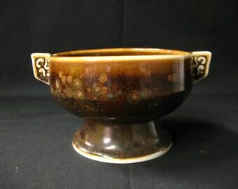 Vintage Japanese Ceramic Bowl Brown Crystal Glaze