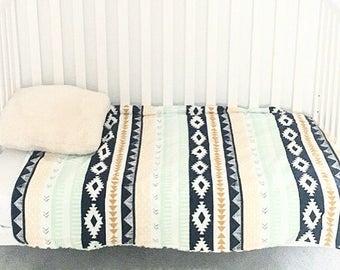 Baby Blanket Gender Neutral AZTEC Tribal Baby Blanket Crib Blanket Toddler Bed Blanket Faux Fur by BizyBelle
