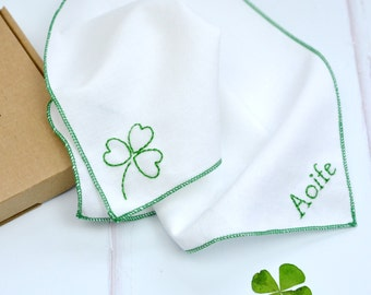 Personalised handkerchief - hand embroidered shamrock - pocket square - Irish - luck - St Patrick's Day - personalized hanky - hankie