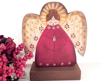 Angel Statuette Hand Painted Wood Spanish Mexican Angel Red and Gold Christmas Decoration  Southwestern USA Folk Art Home Decor