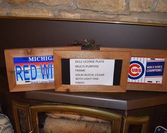 6x12 Wood license plate multi purpose frame solid rustic cedar picture photo craft oak finish country rustic display