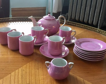 10 pct off at checkout with Coupon Code tw1984. Pretty antique pink luster German porcelain child's tea set