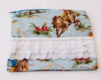 Zippered Cosmetic Bag - Retro Cowboys