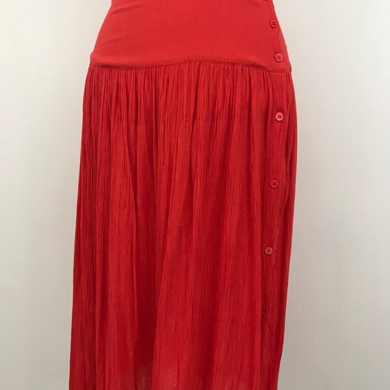 vintage skirt red cotton cheesecloth high waist side button fastening summer skirt detail beach vacation extra small UK 6 midi skirt