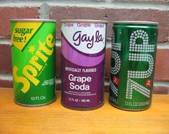 3 vintage pop can metal 7 up gayla grape soda sprite sugar free steel
