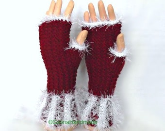 Christmas Fingerless Gloves, Faux Fur Trimmed Wrist Warmers,  Hand Warmers, Santa Gloves,Arm Warmers, Burlesque Winter Gloves, Red White