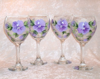 PANSY WINE GOBLETS, purple, set of four