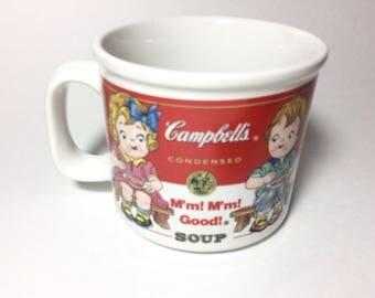 1993 Campbells Soup Mug, large soup mug with handle, Campbells soup kids, large ceramic soup mug (AB1)