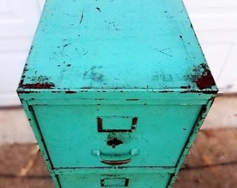 Vintage industrial rolling file cart