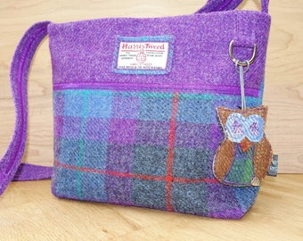 Purple and blue checked Harris Tweed across the body bag