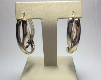 Beautiful 14K Yellow & White Gold Wave Hoop Earrings