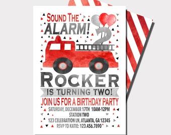 Firetruck Birthday Invitation | Fireman Birthday Invitation | Sound The Alarm | Truck Birthday Invitation