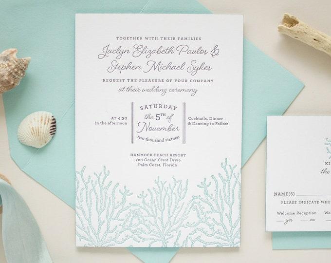 Letterpress Wedding Invitation on Thick Paper with Edge Painting, Destination Wedding Invitations, Beach Wedding | DEPOSIT | Coral Reef