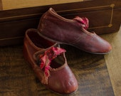 Antique Red Leather Shoes for Child or Doll