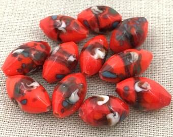 6 Vintage Handmade Orange Red Japan Oval Glass Beads
