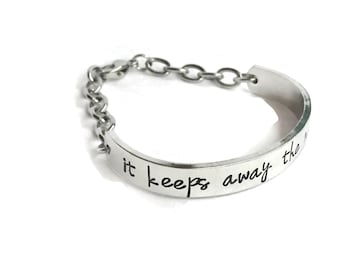 Personalized Text Aluminum Bracelet with Clasp