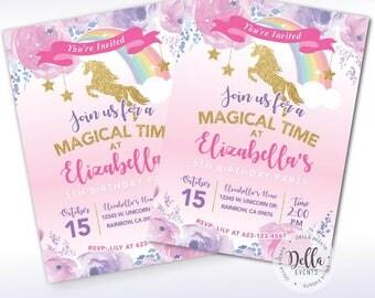 Unicorn Invitation, Unicorn Invite, Pink and Gold, Rainbow Unicorn Birthday Invite, Magical, Sprinkle Invite, Gold Glitter, Pastel Rainbow