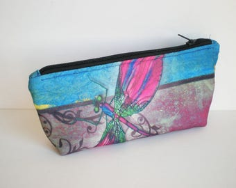 Makeup bag, cosmetic bag, zipper pouch, pencil case, dragon fly, small bag, fabric pouch, printed pouch, gift for her