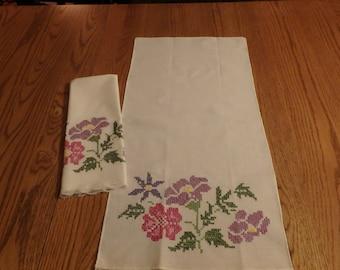 pair of flower tea towels