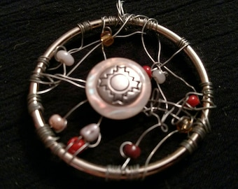 Dreamcatcher pendant with antique opalescent button