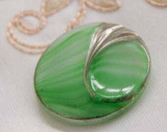 Green Slag Glass with a Silver Luster Swirl Design - Vintage Button