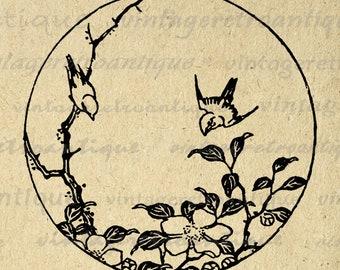 Digital Japanese Bird Engraving Image Graphic Download Printable Vintage Clip Art Jpg Png Eps Print 300dpi No.2258