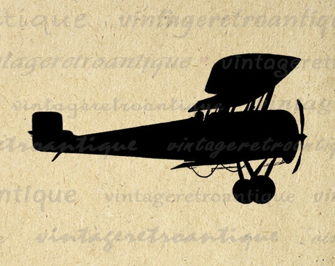 Antique Airplane Silhouette Digital Image Printable Plane Illustration Graphic Print Download Vintage Clip Art Jpg Png Eps HQ 300dpi No.3286
