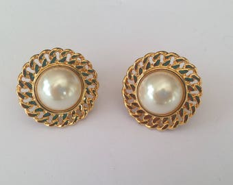 Vintage Napier Goldtone and Faux Pearl Screw Back Earrings.