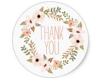 Floral Thank You Stickers, Wedding Favors, Shabby Chic Birthday, Baby Shower, Floral Favor Box Sticker, Packaging, Rustic Party, Pink Peach