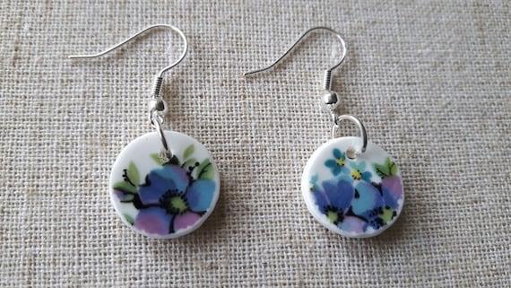 Broken china earrings.  China shard earrings  Unusual earrings.  Porcelain earrings.  Handmade in Wales UK