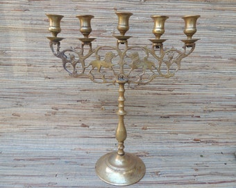 Vintage Brass Lions Candelabra, 5 Cup Brass Candle Holder
