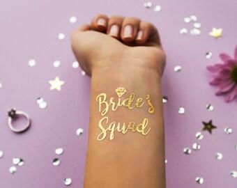 Bride's Squad Gold Metallic Temporary Tattoo | Bachelorette Party Favor | Bridesmaid Wedding Tattoo | Flash Tattoo | Hen Bridal Party Gift