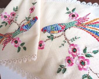 Vintage  Table Runner   Parrots  Embroidered  Runner  Dresser Scarf   Needlework   Linens  Home Decor