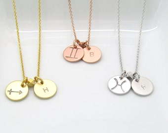 Personalized Zodiac Necklace- Zodiac Symbol Necklace- Starsign Necklace- Zodiac Jewelry-Silver Rose Gold or Gold Zodiac and Initial Necklace
