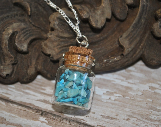 Genuine Turquoise Jar Necklace on Sterling Silver chain, raw turquoise, boho, minimalist