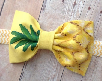 Pineapple bow headbandhand painted yellow green glitter bow metallic sparkly accent baby girl