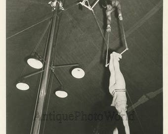 The Kneisleys acrobats in action vintage circus photo