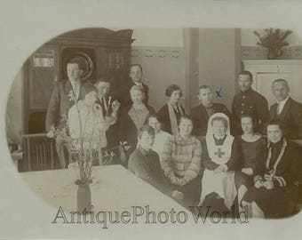 Russian group with Red Cross nurse antique photo