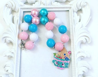 Pink And Turquoise Character Necklace, Candy Minnie Mentie Necklace, Character Bubble Gum Necklace, Minnie Mentie Character Custom Necklace