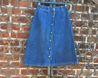 Denim Skirt with Lace Pockets